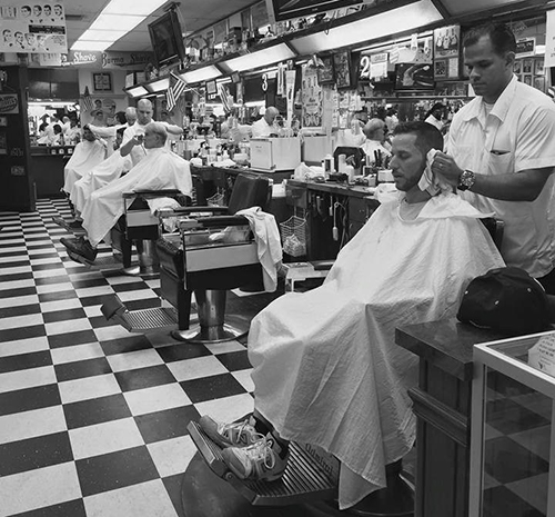 black and white classic barbershop